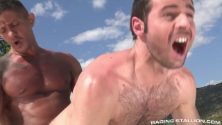 goran fucks dario beck's hairy ass by the pool