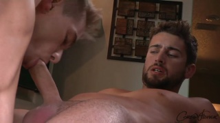 sexy bearded stud rides a blond's dick