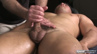 beefy hunk colt lets masseur work over his erection too