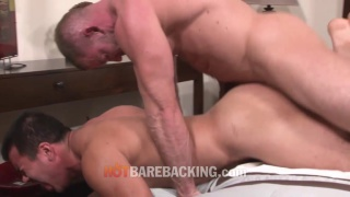 bodybuilder bare fucks his buddy after the gym