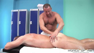 massive muscle bear gets a massage