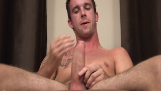 kato strokes his very fat dick