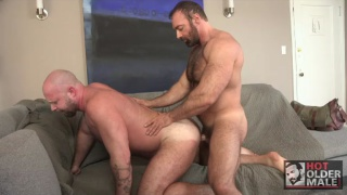 muscle bear pounds bald bottom's ass