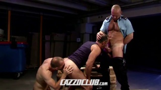 security guard finds a threesome in his factory
