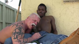 silver daddy rick gets his ass plugged by black top
