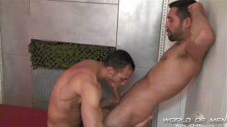 blowing bill baval in a bathhouse