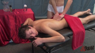 nick gets a massage after a hard day