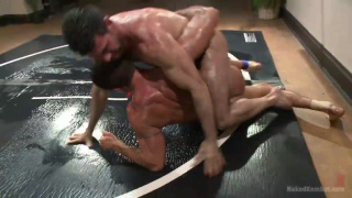 Billy Santoro vs Nick Capra in oil wrestling match