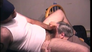 old man blows stocky dude