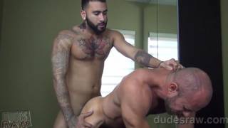 furry latin stud fucks muscle daddy