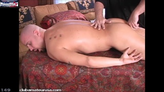 beefy bald dude gets rub down