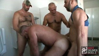 sexy cub spies daddy draining cock at the urinal