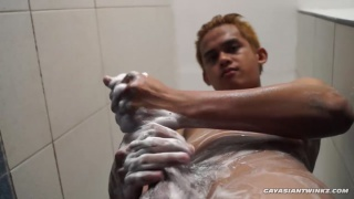 straight asian lad willy beating off for cash