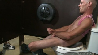 toilet jacker Brett Bradley stroking his big dick
