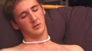 cute blond skater blows cum on his belly