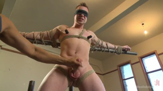 straight stud does his first bound cock edging video
