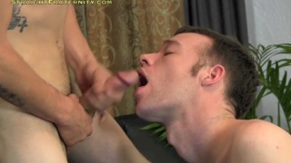christopher eats two loads out of kae's cock