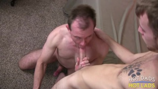 skinny cocksucker takes care of older guy's dick