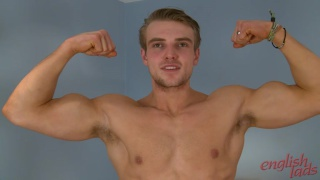 Straight Athlete James Shows off his Muscles