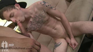 inked gay guy gets things going with this straight dude