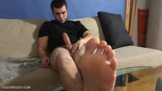 billy peels off his dirty white socks