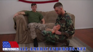 PRIVATE FIRST CLASS JETT'S FIRST GAY BLOWJOB