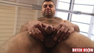 hairy man Benji jacks his dick