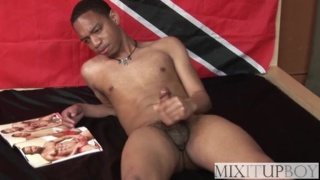 handsome slim black dude beating off