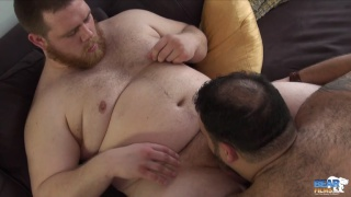 huge bear men blow each other