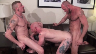 bald ginger gets tag teams by two top hunks