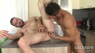 euro hunks making out in the kitchen