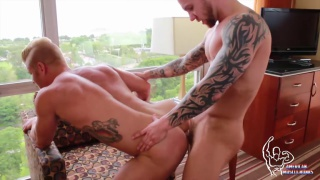 blond and tattooed hunk have sweaty muscle sex