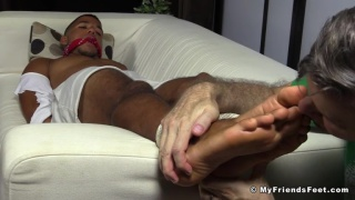 personal trainer gets his feet worshipped