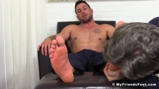 foot slave worships Casey more's bare feet