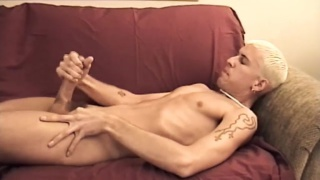 blond blue-eyed markie plays with his big dick