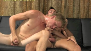 lanky blond guy sucks his first cock