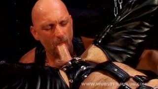 chunky leather men fucking around in sling