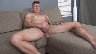 beefy inked hunk Cort beats off