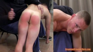 look how red aaron's spanked ass gets
