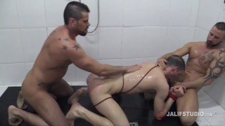 Mario Domenech and Antonio Miracle fuck jace tyler is showing