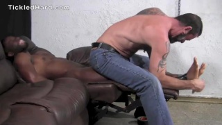 black stud Tyler gets his sensitive feet tickled