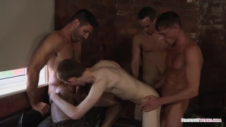 3 studs take turns fucking a horny bottom