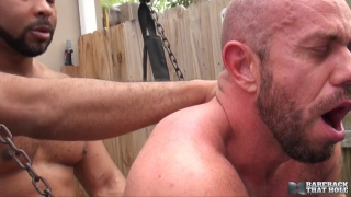 Ray Diesel bare fucks Matt Stevens in a sling