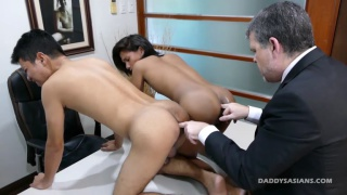 daddy's fucks two asian butts at the office