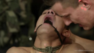 prisoner tormented with nipple clamps
