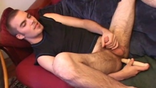 jasper has bum fun with a long dildo