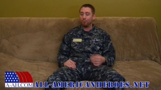 sexy guy in uniform strokes his dick