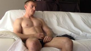 hot blond aussie strokes his dick
