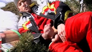 blond skier jacks his dick outside while smoking