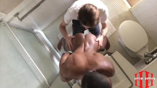 hung gamer fucks black bottom is his bathroom